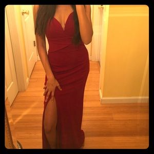 Long Wine Red Prom Dress